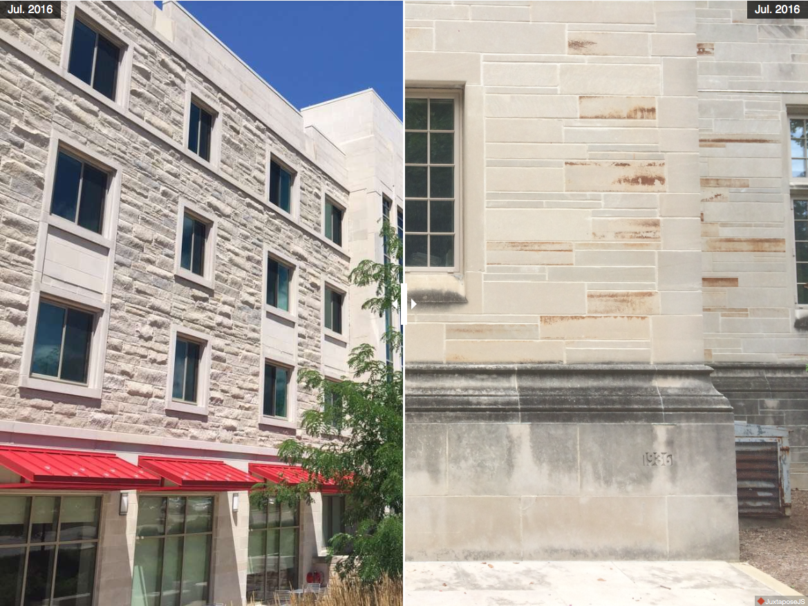 There is new Spruce Hall and Bryan Hall with rusted exterior.