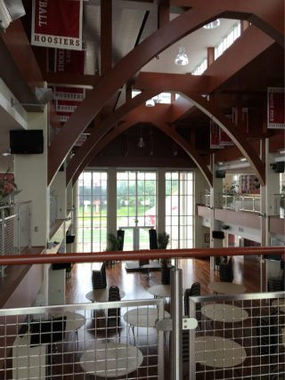 The banquet hall of the football stadium. Picture taken by Maria Thames